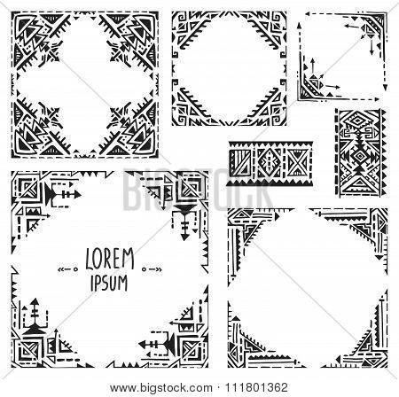 Set Of Five Borders With Tribal Art Boho Hand Drawn Geometric Patterns.