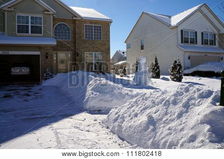 Snowbanks and a Snowman