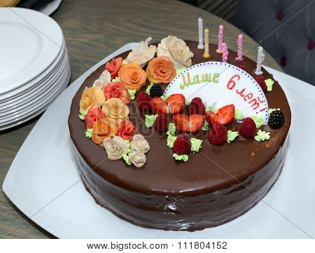 Chocolate Cake In Birthday On Table