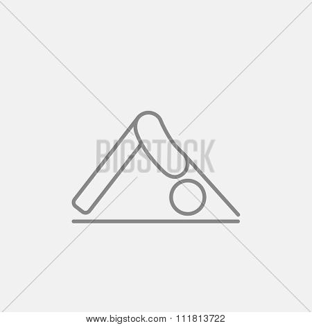 A man standing in yoga downward facing dog pose line icon for web, mobile and infographics. Vector dark grey icon isolated on light grey background.