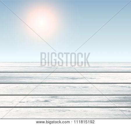 Scene of wooden floor over blue sky with sun, vector 3D illustration.