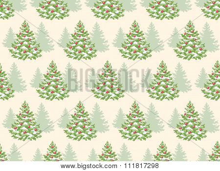 Seamless Pattern with Evergreen Christmas Tree Pine Fir Isolated