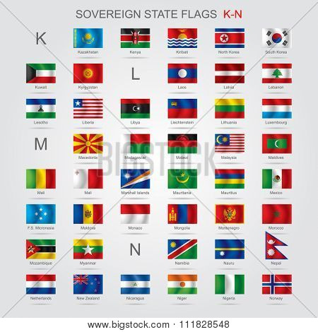 Set of world sovereign state flags with captions in alphabet order.  Vector illustration
