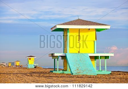 Hollywood Beach Florida bright yellow lifeguard house