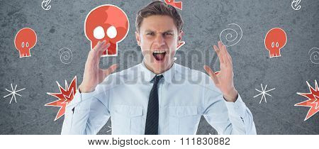 Angry businessman shouting against dirty old wall background