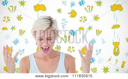Angry blonde yelling with hands up against white background with vignette