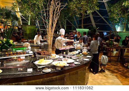 SINGAPORE - NOVEMBER 07, 2015: inside the Marina Bay Sands Hotel. Marina Bay Sands is an integrated resort fronting Marina Bay in Singapore