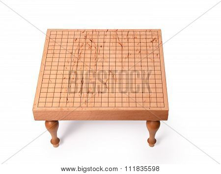Wooden Table For Board Game Go On White