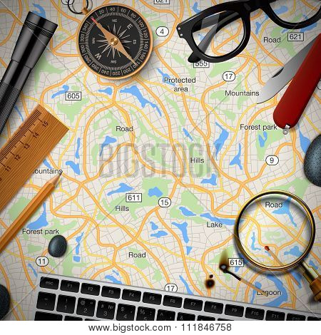 Colourful travel banner with map, keyboard, compas