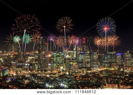 Fireworks Over Brisbane City From Mount Coot-tha. Queensland, Australia.