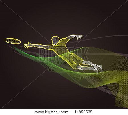 Sportsman Throwing Frisbie. Colorful Illustration