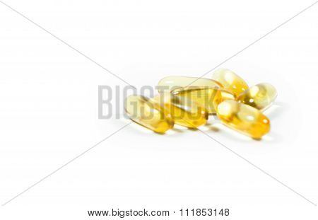 Capsules From Fish Oil On White Background