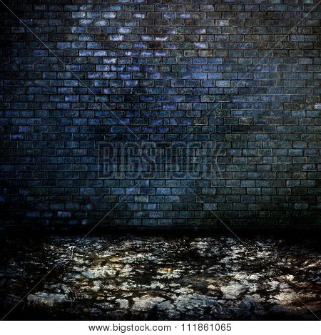 Dark Room With Tile Floor And Brick Wall