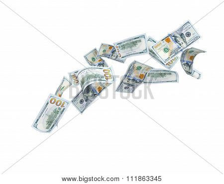 Dollars Many Falling - Isolated For Background