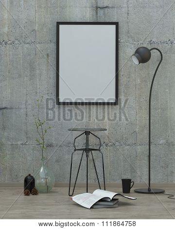 Loft  Style Modern Interior Background, 3D Render