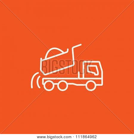 Dump truck line icon for web, mobile and infographics. Vector white icon isolated on red background.