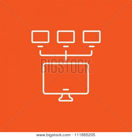 Group of monitors linked in a hierarchical network line icon for web, mobile and infographics. Vector white icon isolated on red background.