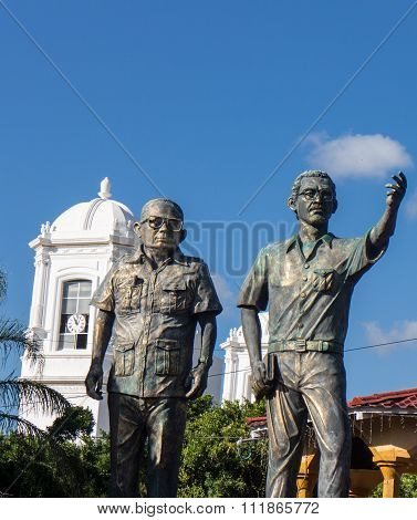 Tomas Borge And Carlos Fonseca Sculptures From Matagalpa