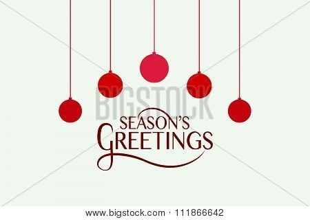 Hand Sketched Season's Greetings Logotype, Badge And Icon Typography With Christmas Tree Balls.