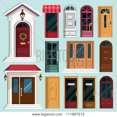 Set of detailed colorful front doors to private houses and buildings. Front door with Christmas wrea