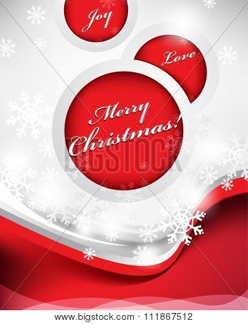 Merry Christmas greetings, red wave and round frames, snowflakes elements. eps10 vector