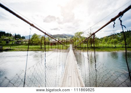 Mountain Suspension Bridge Of Carpathian River