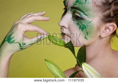 portrait of beautiful elven girl with bodyart poster