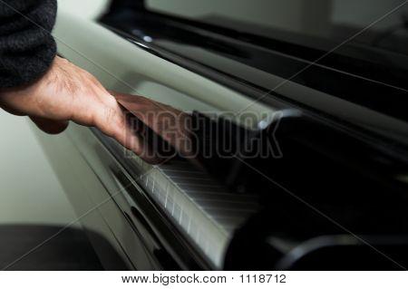 Hand On Piano Keyboard