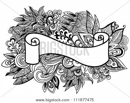 Hand drawn ribbon on the floral doole background. Vector illustration.