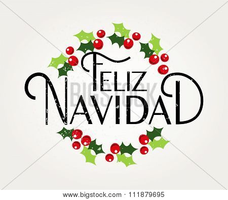 Hand Sketched Feliz Navidad (happy New Year In Spanish) Logotype, Badge And Icon Typography With Chr