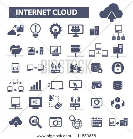 internet cloud icon, clouding, web, computer network, connection, hosting, database, pc  icons, signs vector concept set for infographics, mobile, website, application