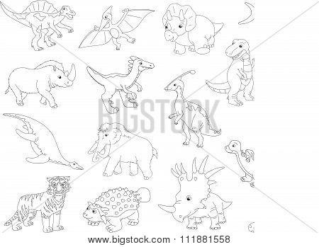 Palaeosaurus, Styracosaurus, Spinosaurus, Ichthyosaur, Diplodocus, Tyrannosaur, Pterodactyl, Tricera