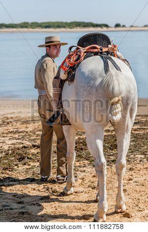Horse And Rider At Sanlucar De Barrameda