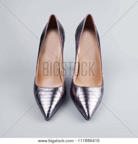 Silver High Heels Pump Shoes
