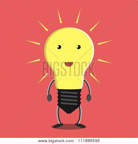 Glowing Light Bulb Character