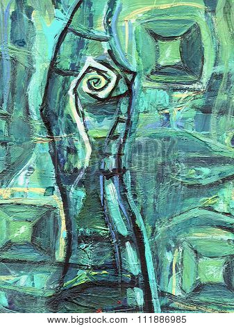 Abstract Acrylic Painting. Emerald Cave With Gems. Stalagmite With Mystic Eye.