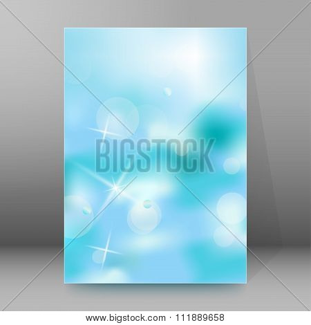 Turquoise Background Blur Brochure Cover Page Layout