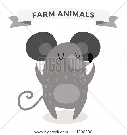 Cute cartoon mouse vector illustration. Cartoon rat isolated on white background. Rat, mouse animal. Vector mouse animal. Cute mouse vector illustration. Rat vector isolated. Mouse vector