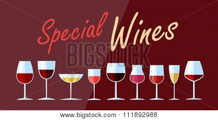 Collection of authentic high quality wines. Vector illustration. Flat design illustration of wine glasses with various types of wine