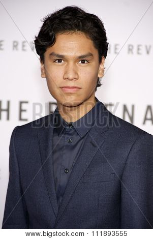 Forrest Goodluck at the Los Angeles premiere of 'The Revenant' held at the TCL Chinese Theatre in Hollywood, USA on December 16, 2015.