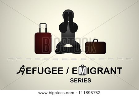 A refugee who is sitting frustrated because of the forced emigration