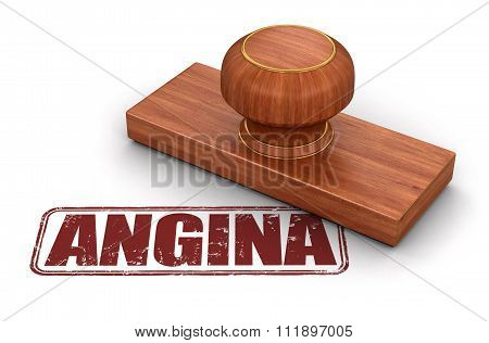 Stamp angina.  Image with clipping path