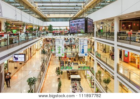 PRAGUE, CZECH REPUBLIC - SEPTEMBER 23, 2015: Palac Flora shopping mall interior. Opened in 2003, contains 4 floors, 120 shops, Cinema City & IMAX theater and is one of the largest malls in Prague.