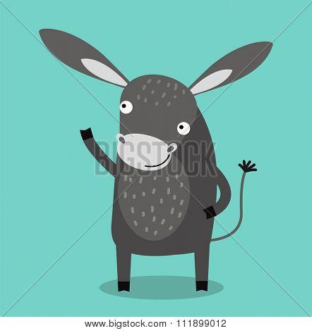 Cute cartoon donkey vector illustration. Cartoon donkey animal isolated on background. Donkey, farm pet animal. Vector donkey farm animal. Cute donkey vector illustration. Donkey farm vector isolated