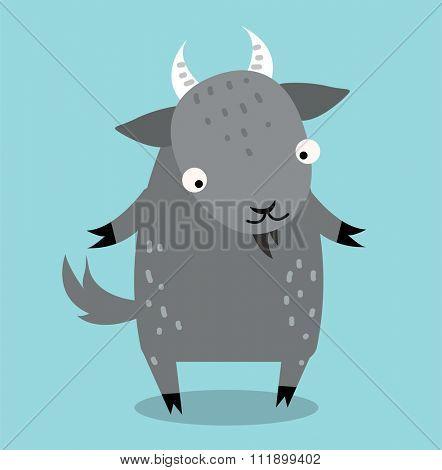 Cute cartoon goat vector illustration. Cartoon goat animal isolated on background. Goat, farm pet animal. Vector goat  farm animal. Cute goat vector illustration. Goat farm vector isolated on