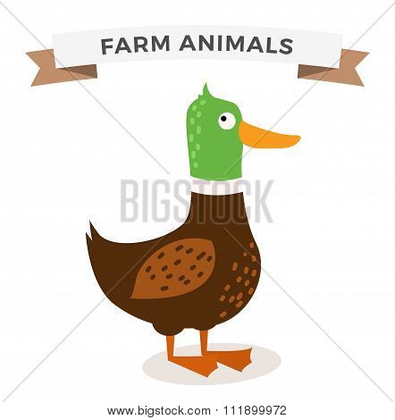 Cute cartoon chicken vector illustration