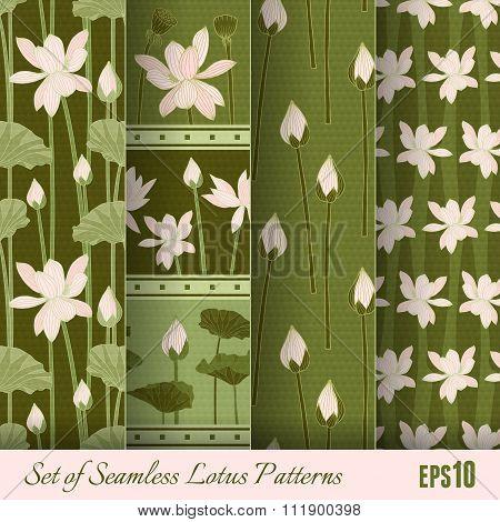 Set Of Seamless Lotus Patterns. Vector Illustration, Eps10.