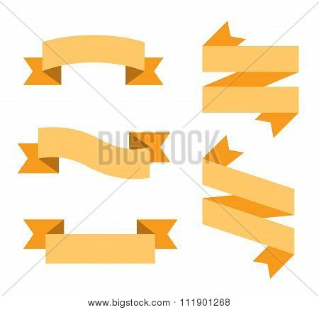 Flat vector ribbon labels set