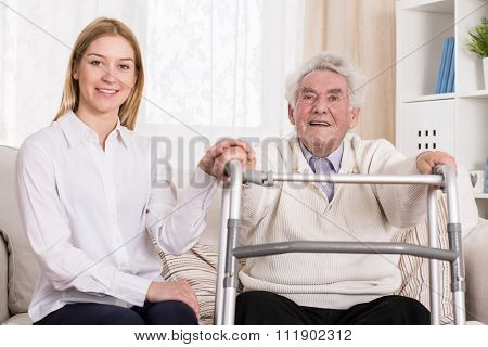 Disabled Man With Walking Zimmer