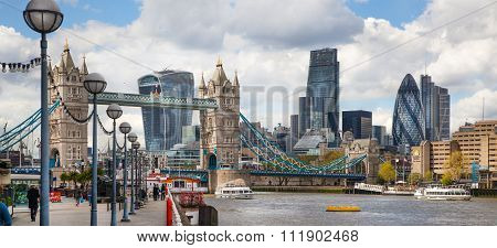 LONDON, UK - APRIL 30, 2015: City of London business and financial aria view from the River Thames e